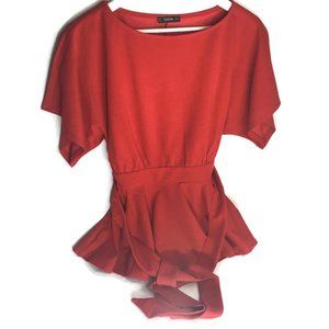 Shein Red Formal XS Short Sleeve Blouse.